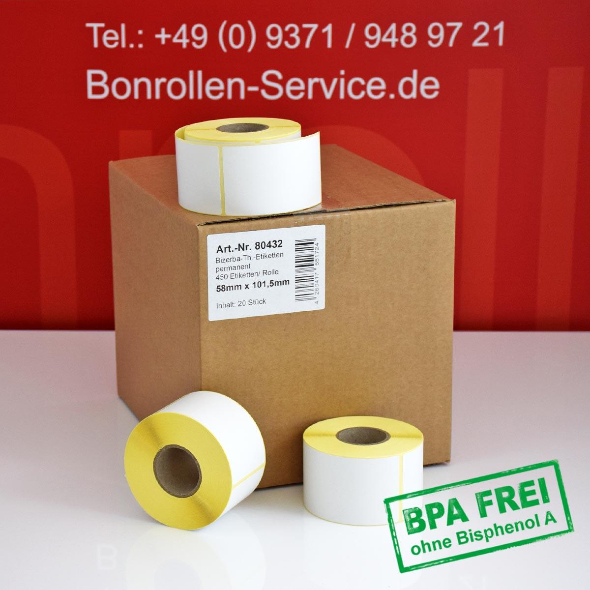 Thermo-Etikettenrollen ohne BPA, 58 x 101,5 für Bizerba, permanent