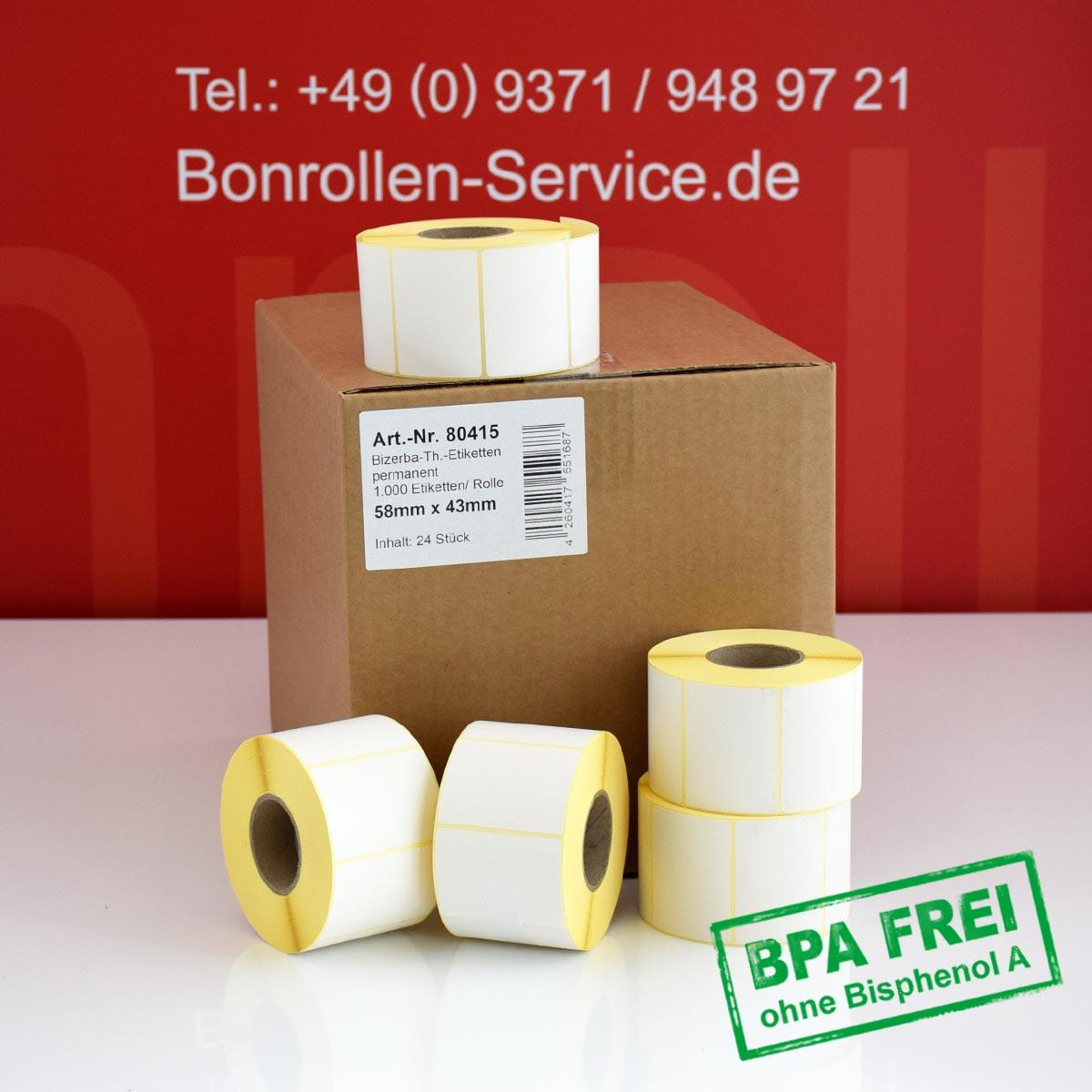 Thermo-Etikettenrollen ohne BPA, 58 x 43 für Bizerba, permanent