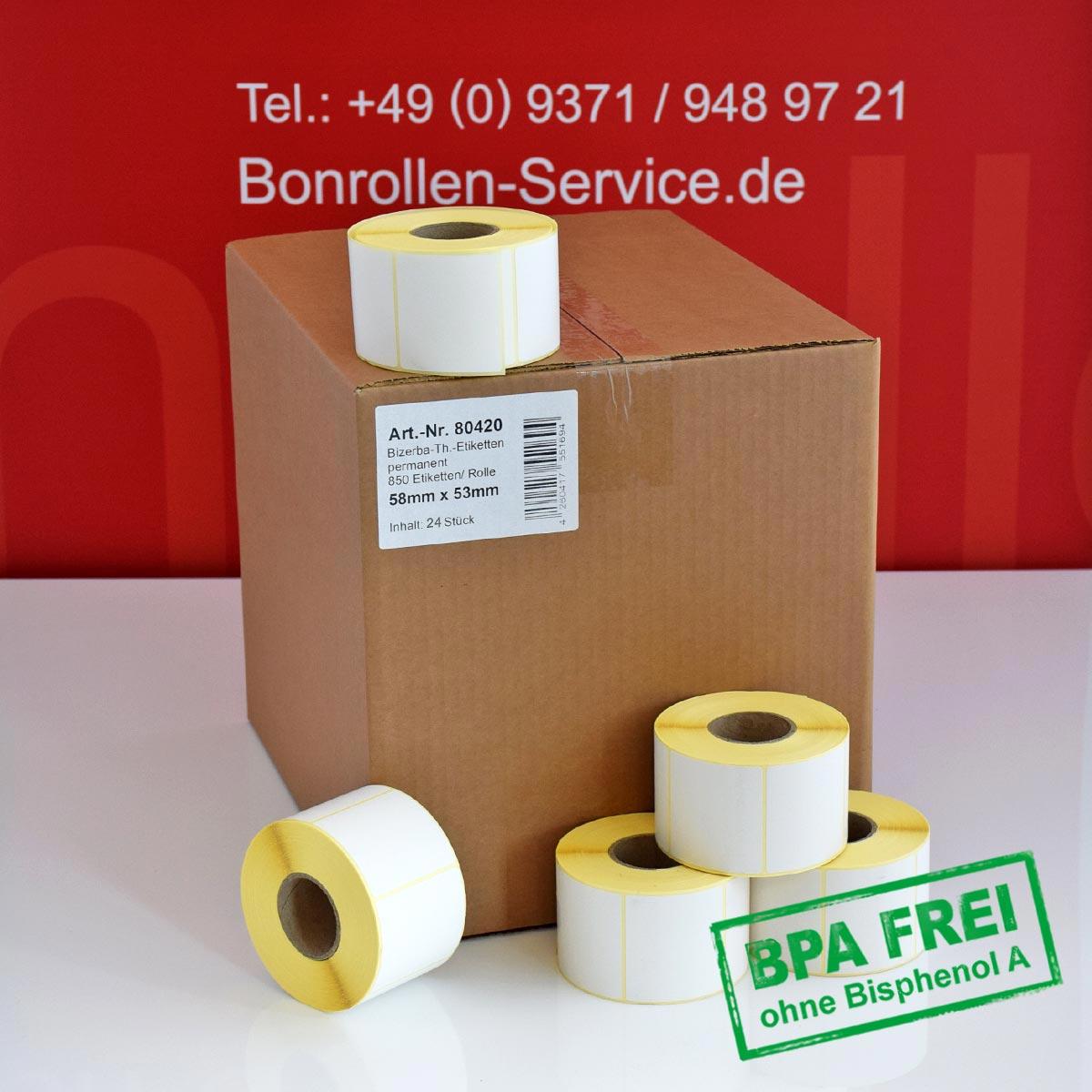 Thermo-Etikettenrollen ohne BPA, 58 x 53 für Bizerba, permanent
