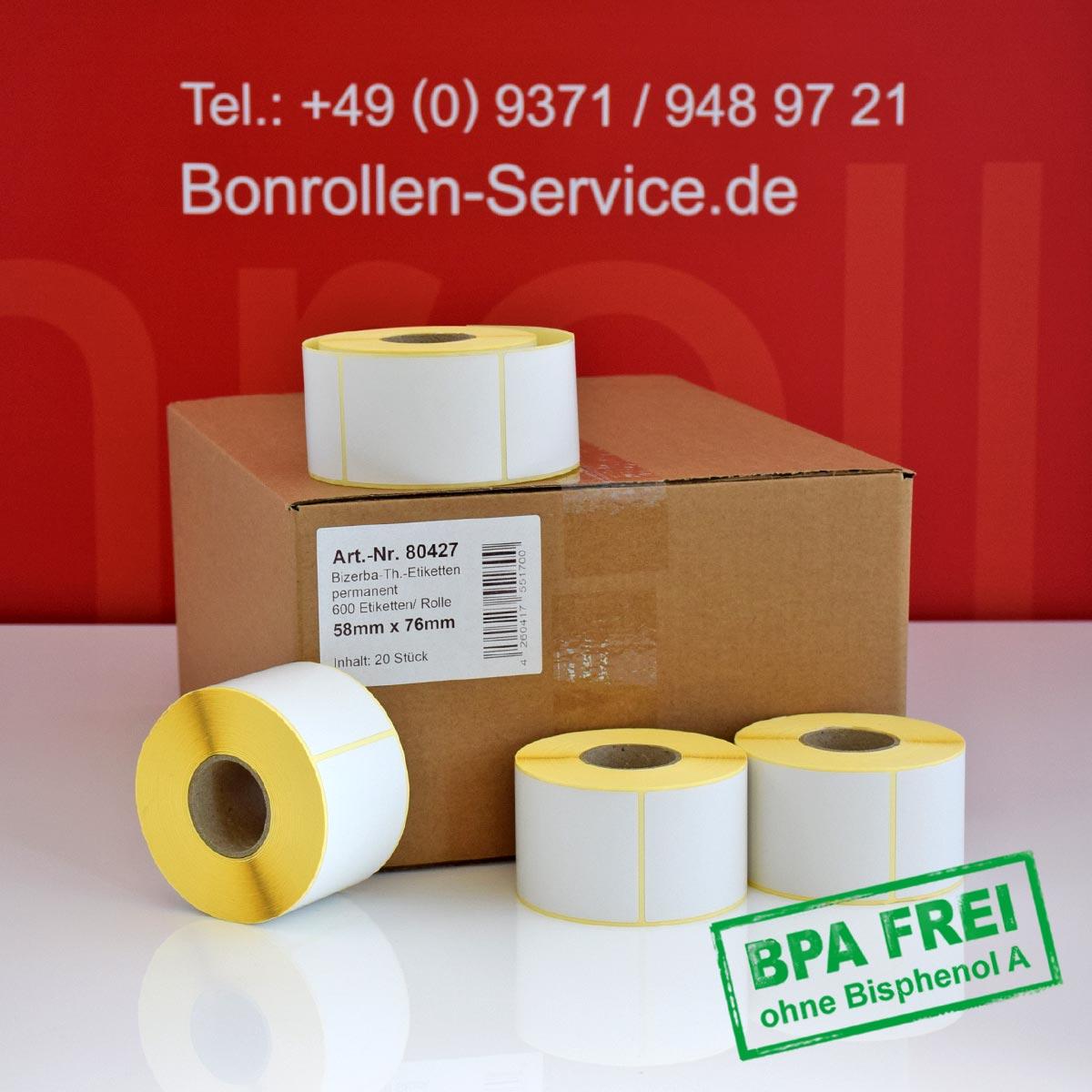 Thermo-Etikettenrollen ohne BPA, 58 x 76 für Bizerba, permanent