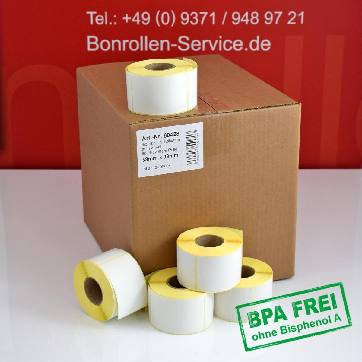 Thermo-Etikettenrollen ohne BPA, 58 x 93 für Bizerba, permanent