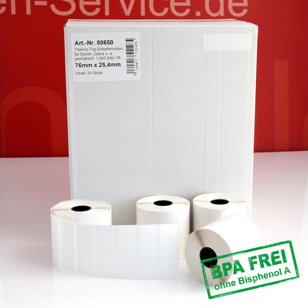 Thermorollen-Etiketten ohne BPA 76 x 25,4 mm permanent klebend