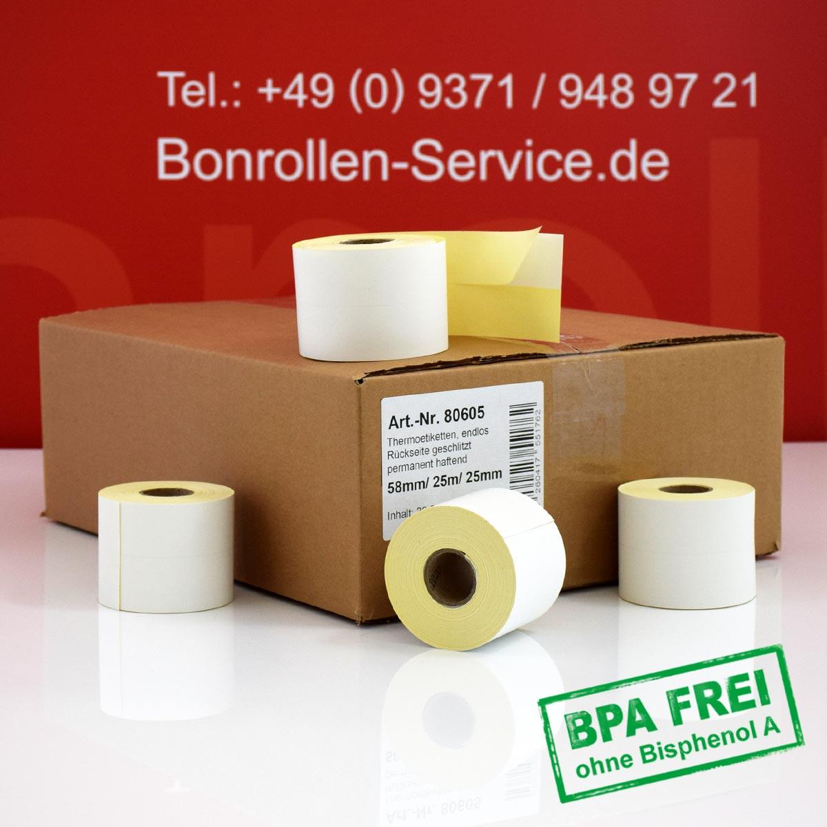 Thermoetiketten-Rollen ohne BPA 58 25m 25, permanent