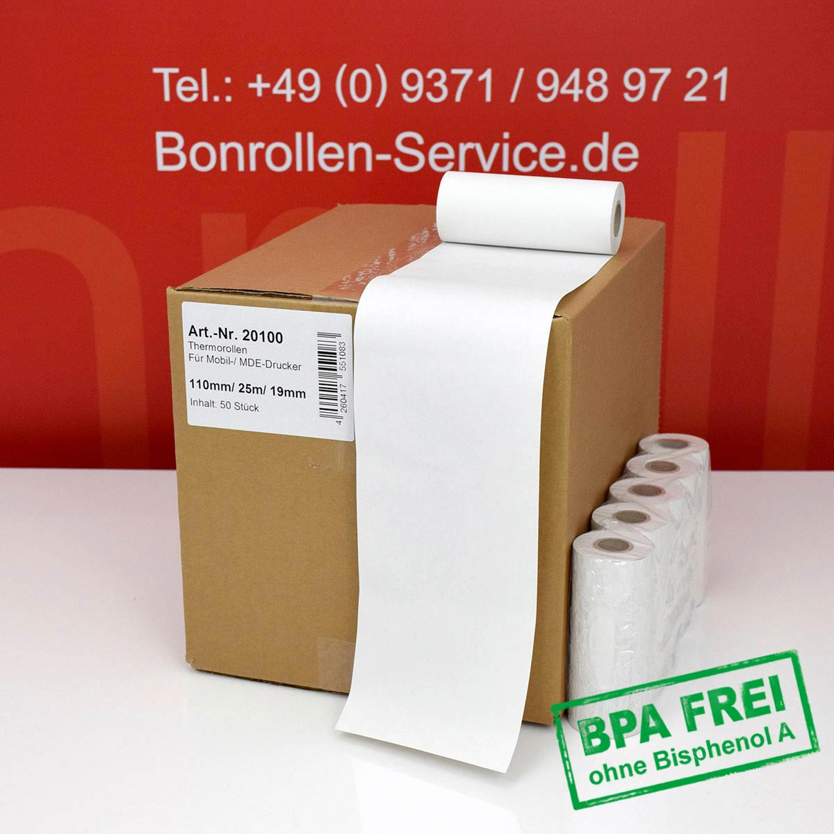 Thermorollen ohne BPA 110 / 25m / 19 weiß