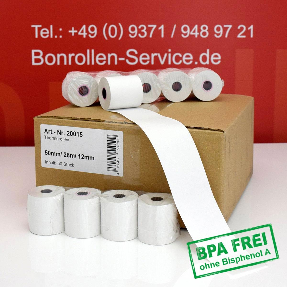 Thermorollen ohne BPA 50 / 28m / 12 weiß