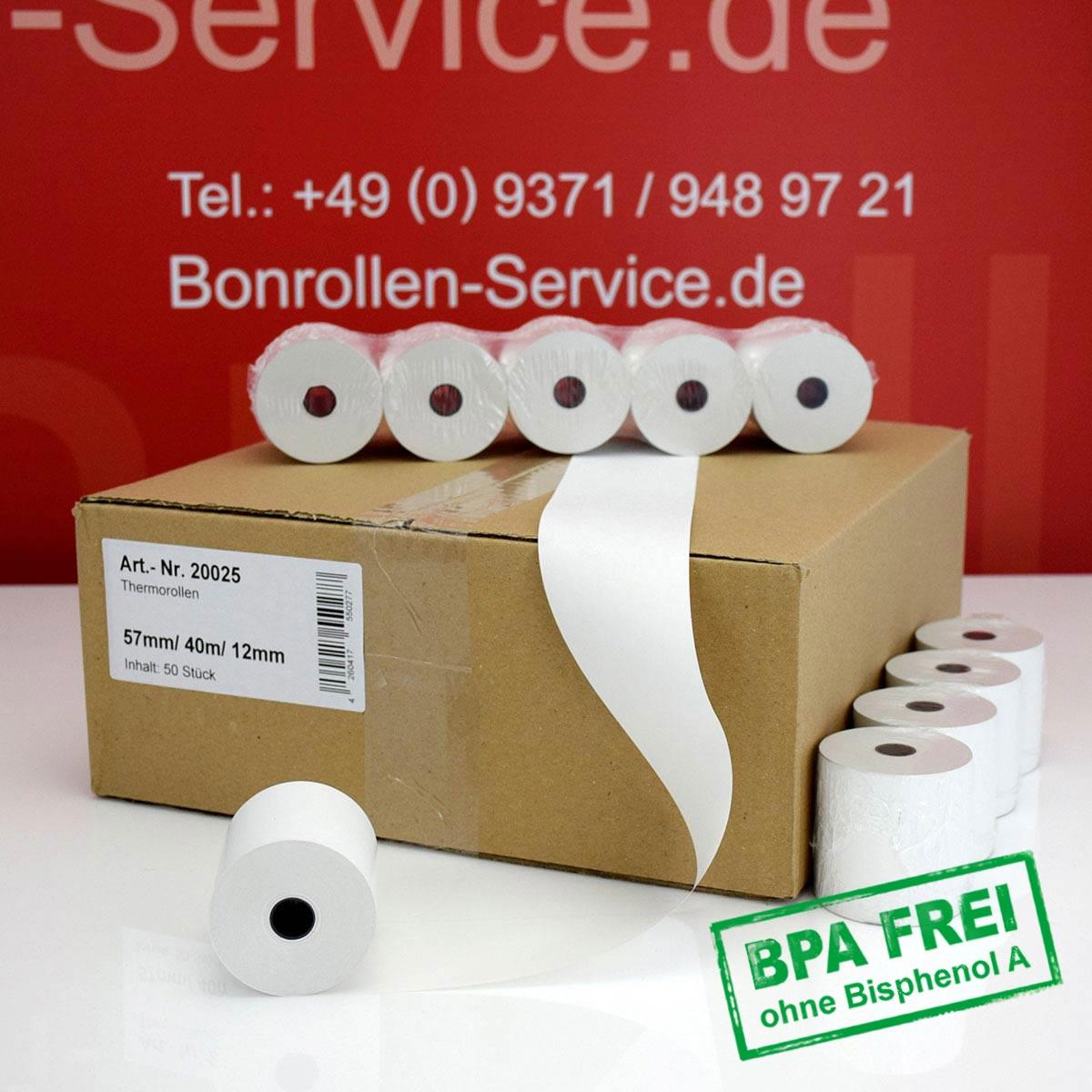 Thermorollen ohne BPA 57 / 40m / 12 weiß