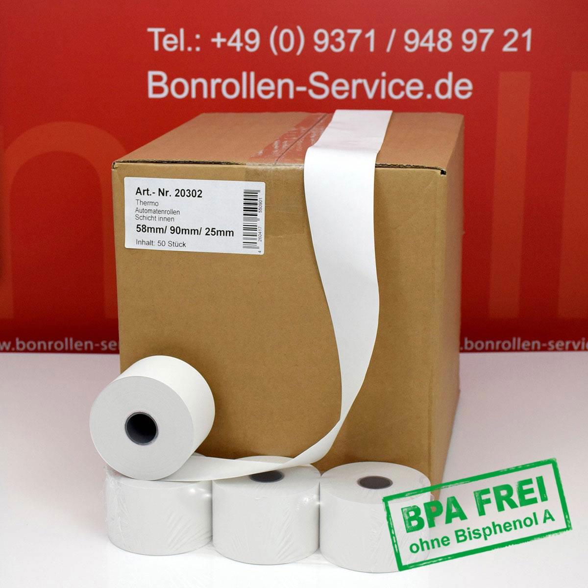 Thermorollen ohne BPA 58 / 90 / 25 weiß, Innenwicklung