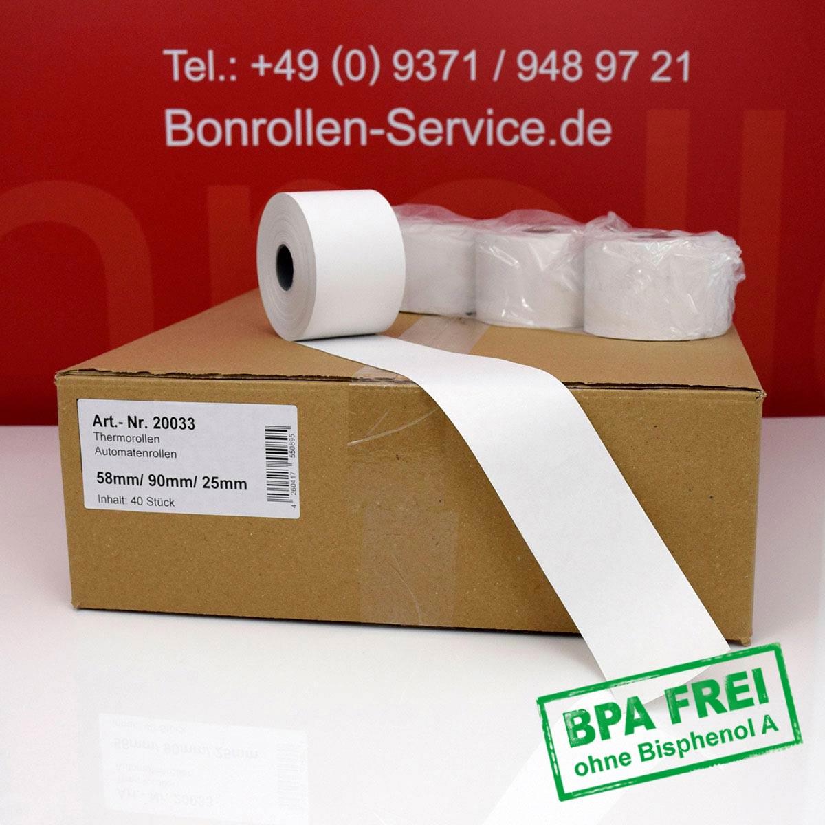 Thermorollen ohne BPA 58 / 90 / 25,4 weiß