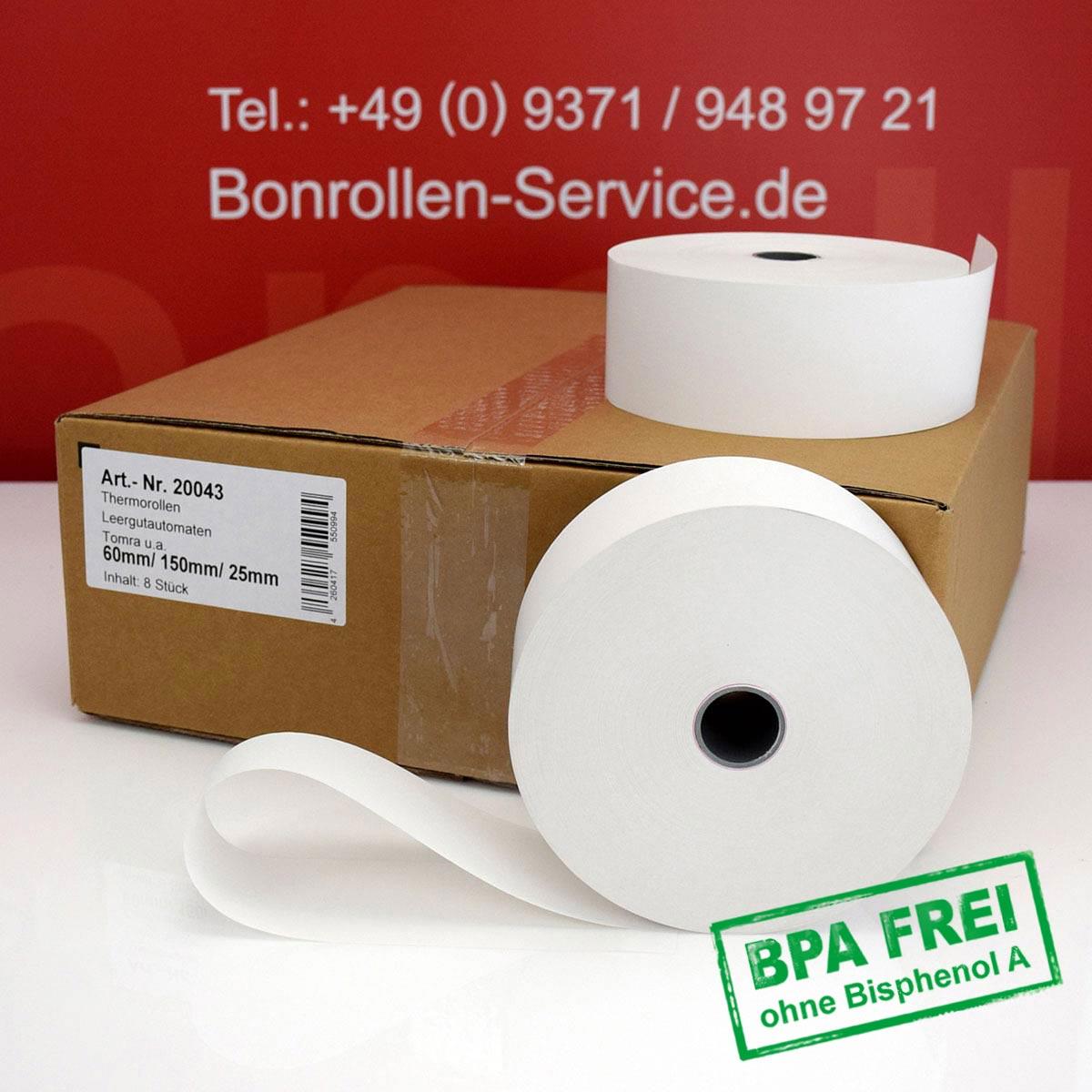 Automatenrollen ohne BPA 60 / 150 / 25 weiß