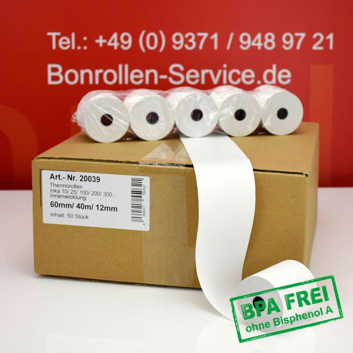 Thermorollen ohne BPA 60 / 40m / 12 weiß, Innenwicklung