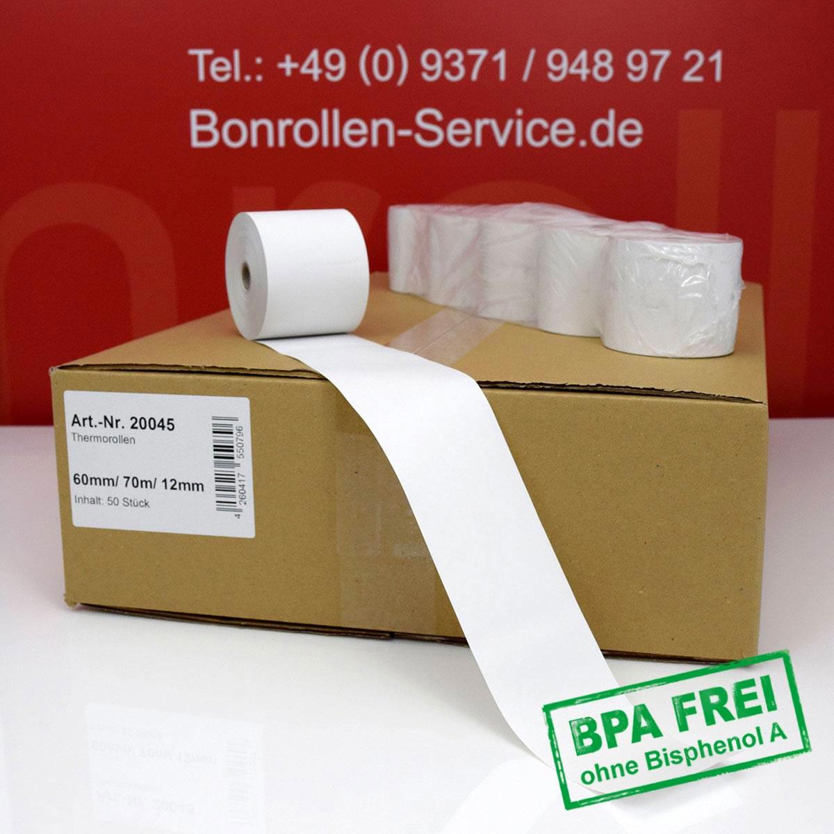 Thermorollen ohne BPA 60 / 70m / 12 weiß