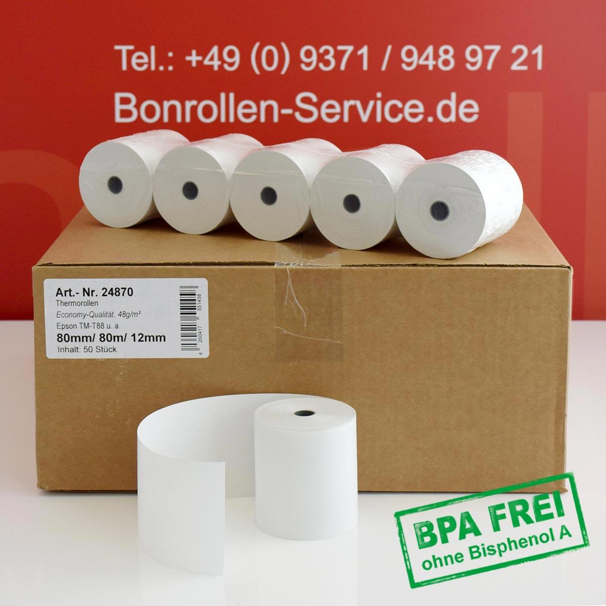 Thermorollen ohne BPA 80 / 80m / 12 - Economy, 48g/m², weiß