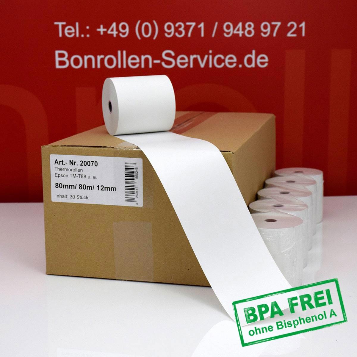 Thermorollen ohne BPA 80 / 80m / 12 weiß