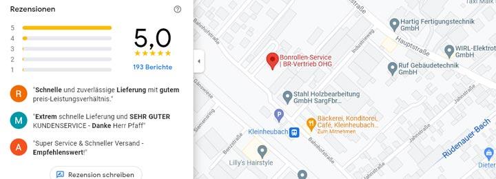 Unsere Kundenbewertungen bei Google