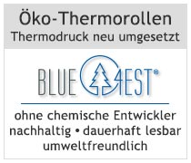 Kundeninformation zu umweltfreundlichen Thermorollen der Marke Blue4est - erhältlich unter www.bonrollen-service.de
