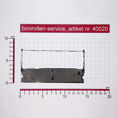 Detailansicht mit Rollenmaßen - Farbband-Kassetten ERC 32 - violett für Casio TK-7000