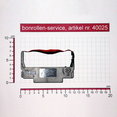 Detailansicht mit Rollenmaßen - Farbband-Kassetten ERC 30/34/38, Gruppe 655 - schwarz/rot für Bixolon SRP-275A