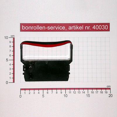 Skizze mit Rollenmaßen  - Farbband-Kassetten Citizen DP-600 / IR-61 - schwarz/rot für